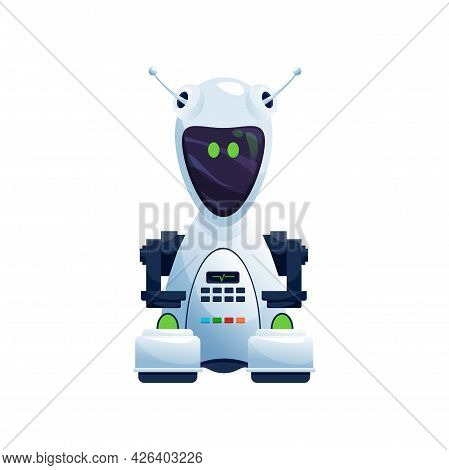 Robot White Plastic Mechanical Droid With Buttons On Body And Big Display On Face Isolated. Vector F