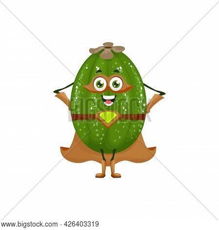 Feijoa Fruit Superhero Cartoon Character, Vector Tropical Fruit And Food In Super Hero Costume. Feij