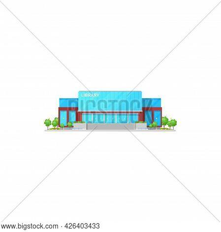 Athenaeum Or Atheneum Public Library Buildings Isolated Icon, Cartoon Design. Vector Facade Of Moder