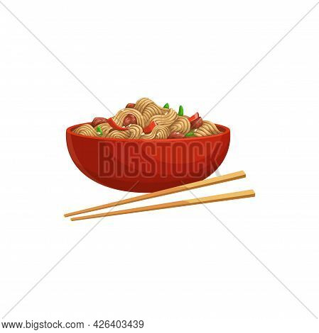 Soy Noodles Product, Soybean Meat And Vegetables In Bowl With Chopsticks Isolated Realistic Icon. Ve