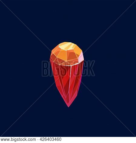 Magic Crystal Vector Icon, Rock, Gem Stone Of Red And Orange Color, Isolated Gemstone. Precious Or S