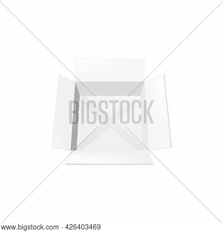 Realistic Box 3d Vector Mockup Top View. Open Empty Carton Paper Pack, Blank Cardboard Package, Deli