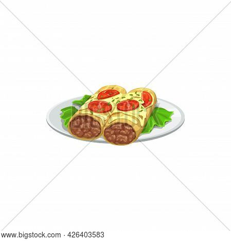 Burrito, Fast Food Menu Snacks And Sandwiches, Vector Isolated Icon. Fastfood Restaurant Or Street F