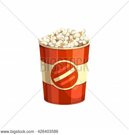 Popcorn Fast Food Snack, Menu Icon, Vector Isolated Basket. Fastfood Restaurant, Cinema Bistro And S