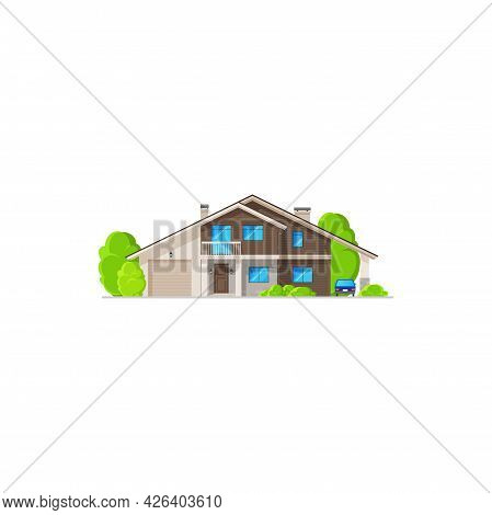 Home Building, Residential Modern House Icon, Vector Town Village And Real Estate Apartment. House H