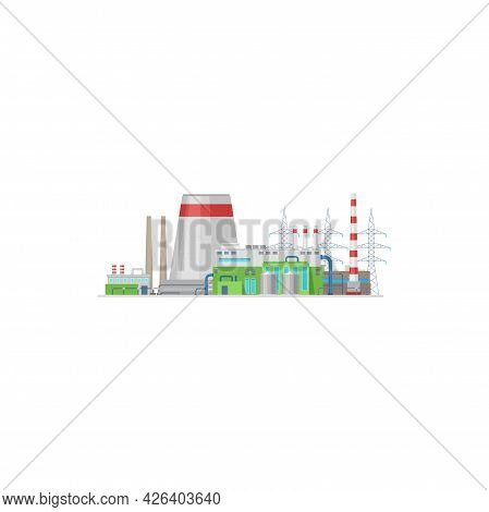 Power Plant Or Energy Station And Factory Towers Vector Electric Industry Icon. Power Plant Nuclear,