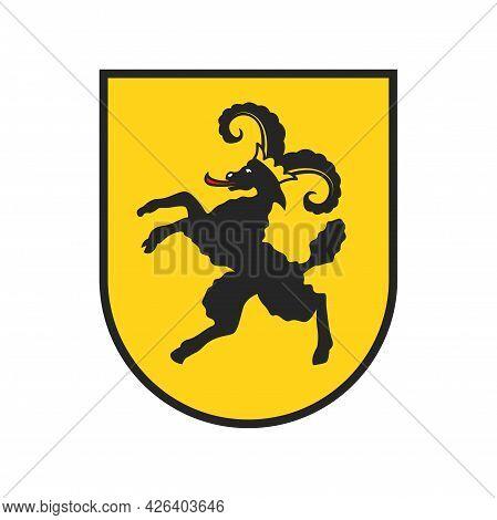 Switzerland Canton Emblem Or Arms, Swiss Heraldic Icon Schaffhausen Region, Vector. Swiss Canton Ban