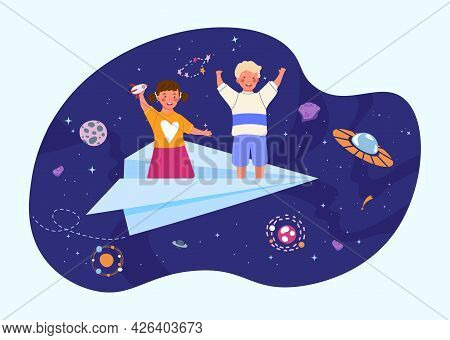 Little Happy Kids Are Flying On The Paper Airplane In The Starry Sky At Night. Concept Of Deep Child