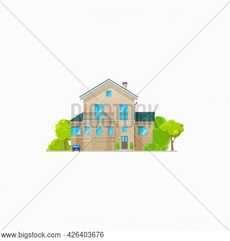 Modern House With Balcony And Windows Isolated Villa Icon. Vector Real Estate Building On Rent Or Sa
