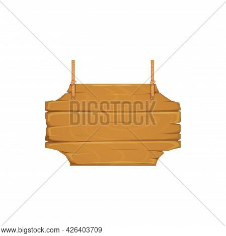 Wooden Sign Board On Ropes Isolated Realistic Icon. Vector Cartoon Plaque, Hanging Pointer Signpost.