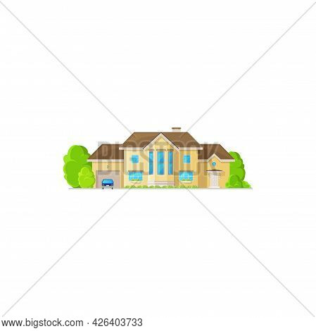 Modern Cosy House With Chimney, Parked Car Near Garage, Green Trees In Garden Isolated. Vector Famil