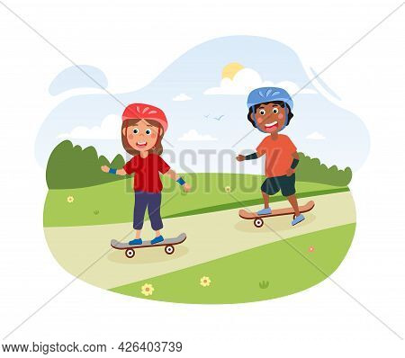 Two Happy Cute Little Children Are Skateboarding Together In A Park. Little Friends Are Having Fun T