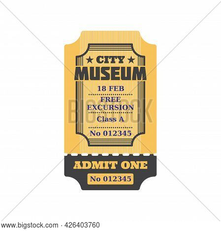 Ticket To City Museum, Numbered Paper Card With Price, Free Excursion Included. Vector Admit On Perf