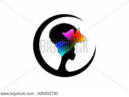 African American Woman Face Profile Wears Colorful Bandana For Curly Hairstyles. Round Logo Women Si