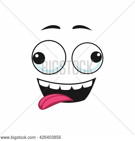 Cartoon Face, Stunned Smile Emoji Vector Facial Expression With Goggle Slanting Eyes And Open Toothy