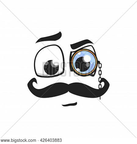Cartoon Face With Mustaches And Monocle On Eye. Vector Gentleman Or Detective Character Emoji, Hipst
