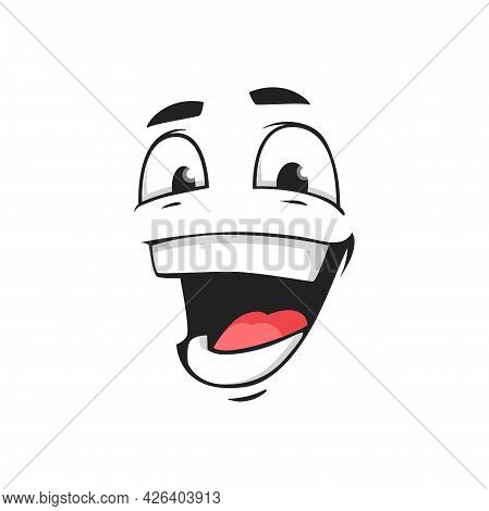 Cartoon Face Vector Icon, Happy Emoji, Laughing Facial Expression With Laugh Toothy Mouth And Merry