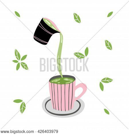 Matcha. Hand Drawn Traditional Japanese Drink, Latte With Milk Is Poured Into Mug, Green Leaves Arou