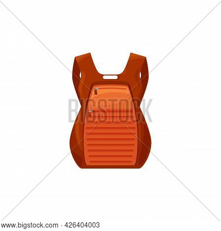 Kids School Bag Isolated Vector Icon, Cartoon Rucksack Of Orange Color With Solid Riffle Back. Stude