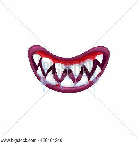 Monster Mouth Vector Icon, Creepy Jaws Smile With Sharp White Teeth And Dripping Saliva. Cartoon Smi