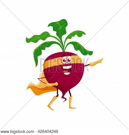 Cartoon Beetroot Super Hero Character Isolated Vector Icon. Funny Fairytale Vegetable In Cape And Ma