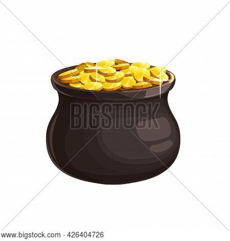 Leprechaun Treasury Isolated Pot Of Golden Coins Shiny Cartoon Cauldron Icon. Vector Patricks Day Ho