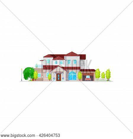 Big American Country House With Car In Garage Isolated Retro Building Facade Exterior. Vector Outdoo