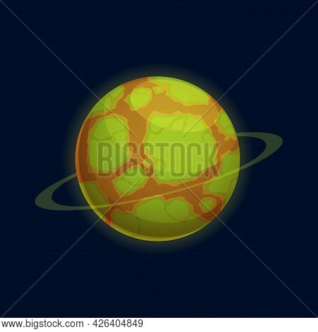 Martians World, Fantastic Mystery Globe Of Green Surface And Brown Rocky Soil Isolated Cartoon Icon.