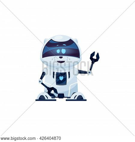 Cartoon Robot Cat Vector Cyborg Character, Toy Or Bot, Artificial Intelligence Technology. Friendly