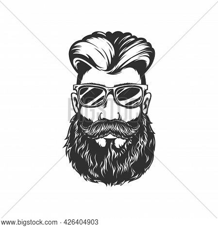 Hipster Portrait, Handsome Male With Stylish Hairstyle, Brutal Guy Portrait Isolated Monochrome Icon