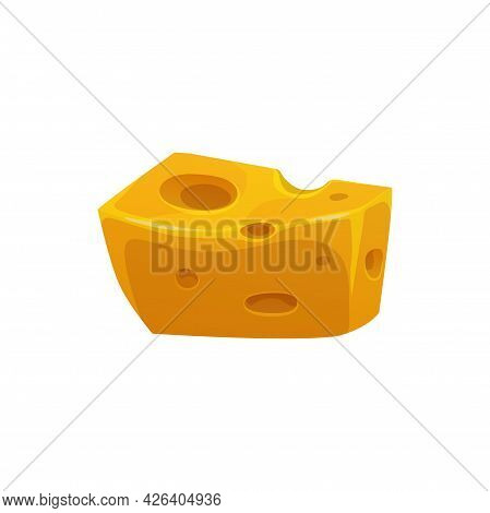 Emmental Swiss Cheese Cut Piece Isolated Dairy Food Realistic Icon. Vector Dietary Food, Mediterrane