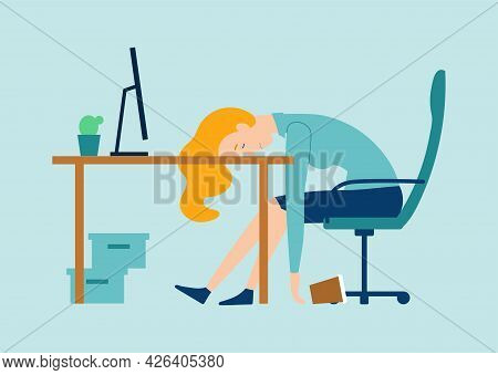 Exhausted Female Character Is Having Burnout Syndrome At Work. Sick Tired Male Manager In Office Sad
