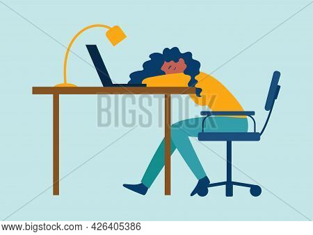 Exhausted Female Character Having Professional Burnout Syndrome. Sick Tired Male Manager In Office S