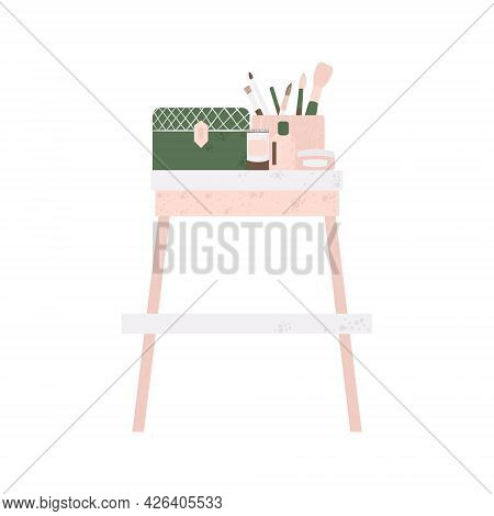 Bedroom Furniture - Dressing Table With Cosmetics In Flat Cartoon Style. Cute Vanity Table In Scandi
