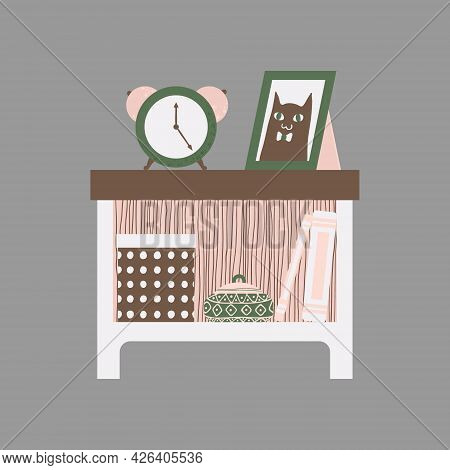 Clip Art Of Nightstand With Books, Clock And Chest In Scandinavian Style. Vector Clip Art Of Bedside