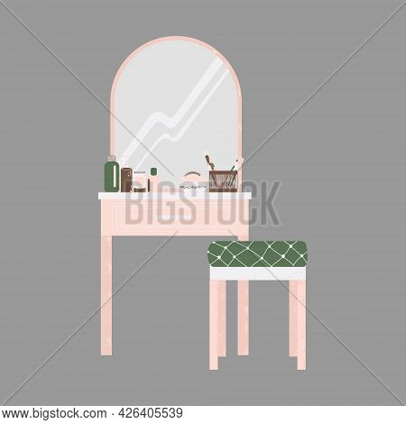 Bedroom Furniture - Dressing Table With Mirror And Cosmetics In Flat Cartoon Style. Cute Vanity Tabl