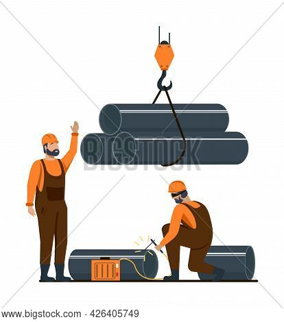 Male Characters Are Working In Metallurgy Industry. Concept Of Resource Mining, Smelting Of Metal In