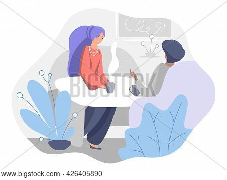 Two Young Girls Chatting At The Table. The Concept Of Communication In Real Life, Meeting A Friend I