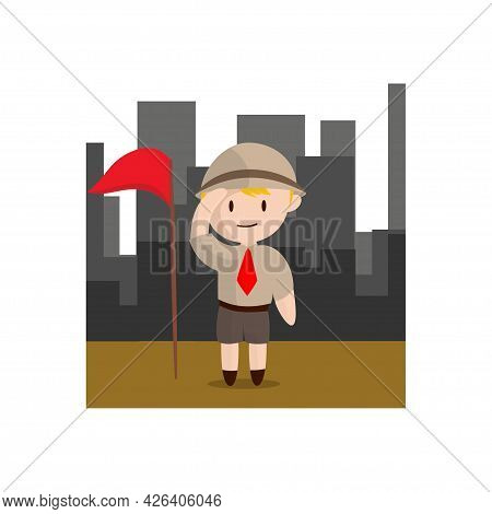 Boy Scout Character In Uniform Standing In City Design Illustration