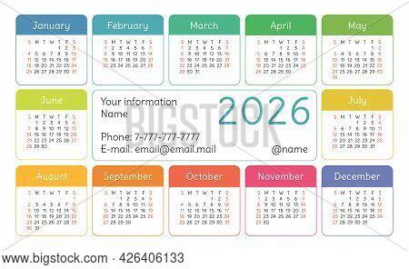 Calendar 2026 Year. English Colorful Vector Horizontal Wall Or Pocket Calender Design Template. New