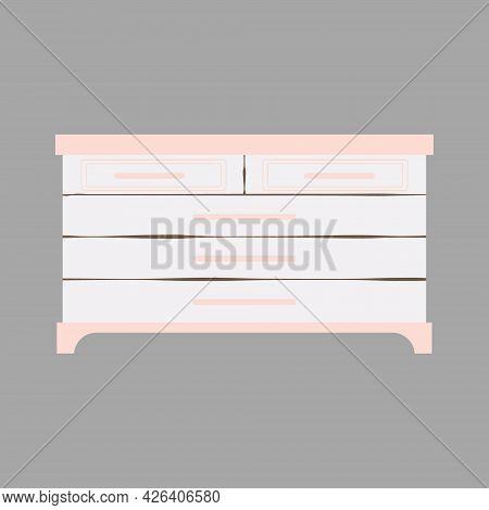 Bedroom Furniture - Commodes In Flat Cartoon Style. Cute Shelf In Scandinavian Style. Vector Illustr