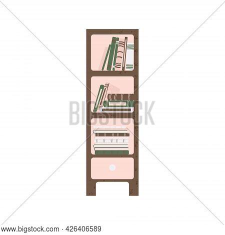 Furniture - Bookshelf In Flat Cartoon Style. Cute Bookcase In Scandinavian Style. Vector Illustratio