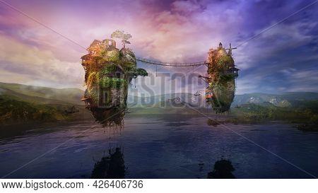 Fantastic Lake Landscape With Inhabited Flying Islands, 3d Render.