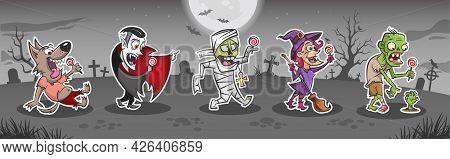 Halloween Cartoon Monsters Stickers Set. Funny Drawings Of Happy Werewolf, Vampire Dracula, Mummy, W