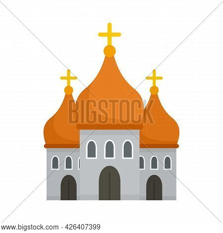 Christian Cathedral Icon. Flat Illustration Of Christian Cathedral Vector Icon Isolated On White Bac