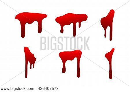 Blood Drip Cartoon Set. Halloween Bloodstain Isolated White Background. Splatter Stain. Horror Drop