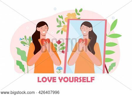 Smiling Female Character Is Looking At Herself In The Mirror. Concept Of Self Love And Self Apprecia