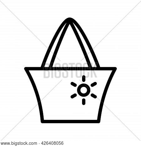 Beach Bag Line Icon. Summer Bag Beach Accessory. Outline Sign For Mobile Concept And Web Design, Sto