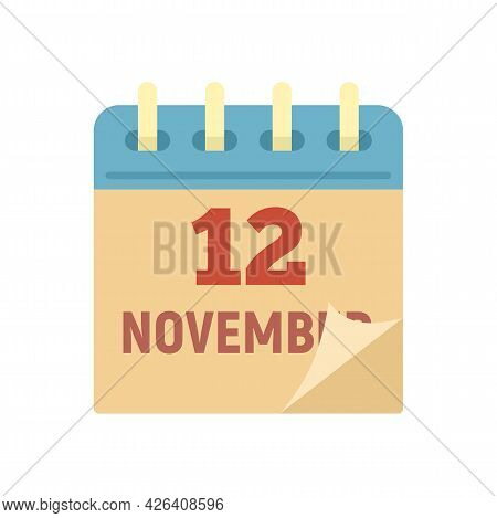 12 November Calendar Icon. Flat Illustration Of 12 November Calendar Vector Icon Isolated On White B