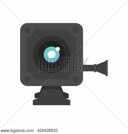 Small Action Camera Icon. Flat Illustration Of Small Action Camera Vector Icon Isolated On White Bac
